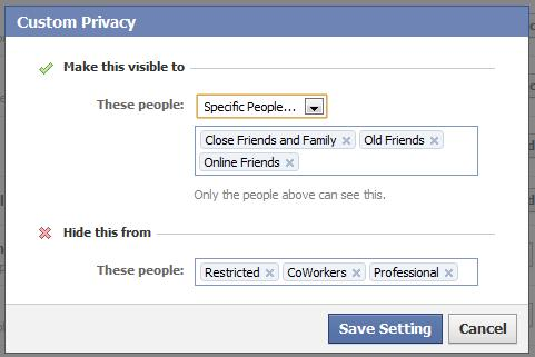 Facebook Customized Privacy